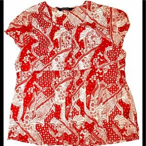 MXM - Red and white graphic print cotton blouse